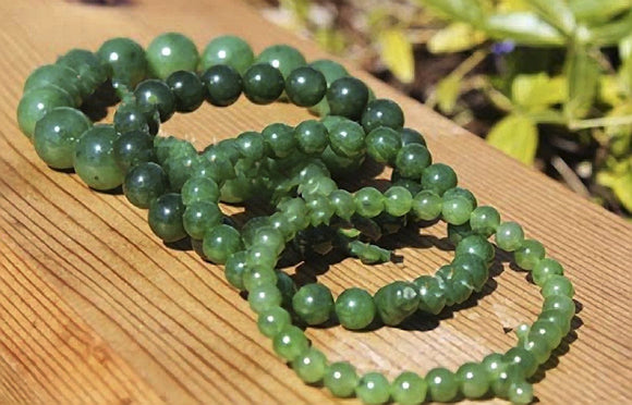 Nephrite Jade Mala Beaded Bracelet Canadian Jade 6mm