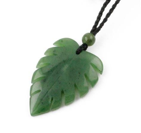 Nephrite Jade Monstera Leaf Pendant Necklace Canadian Jade