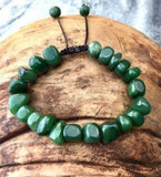 Nephrite Jade Nugget Beaded Bracelet with Slide Closure Canadian Jade