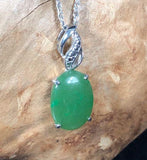 Nephrite Jade Oval Drop Pendant w/ Optional Necklace Canadian Jade Pendant Only