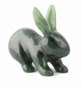 Nephrite Jade Rabbit Carving Canadian Jade 1""