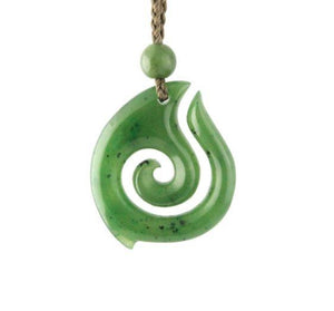 Nephrite Jade Spiral Koru Pendant with Adjustable Necklace Canadian Jade