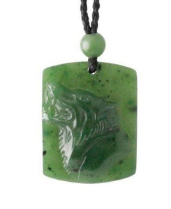 Nephrite Jade Wolf Pendant Adjustable Cord Necklace Canadian Jade