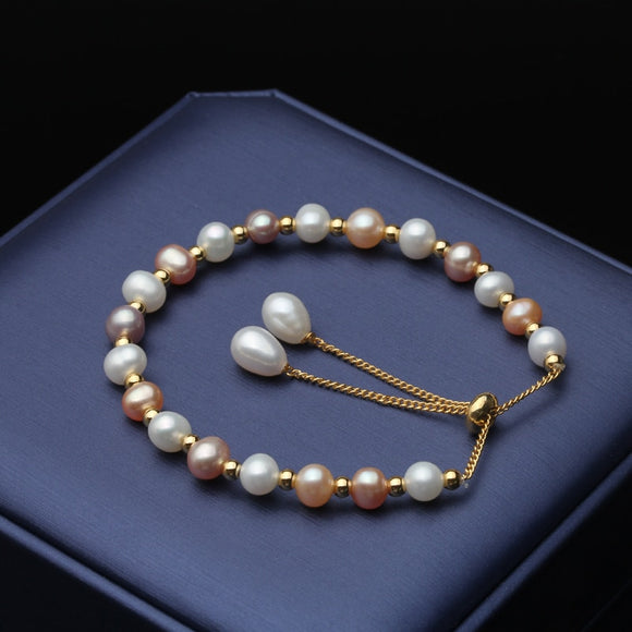 Natural Dainty Freshwater Pink White Pearl Bracelet