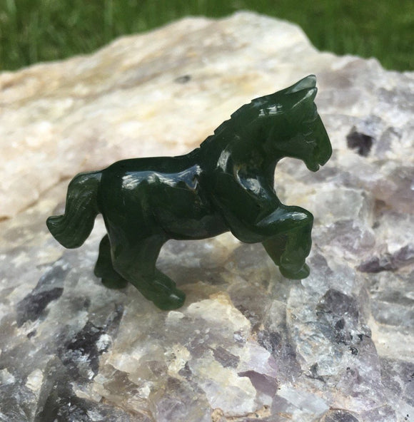 Canadian Nephrite Jade Carved Prancing Horse Figurine Statue