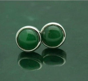 Round Stud Earrings with Nephrite Jade and Sterling Silver Women Canadian Jade