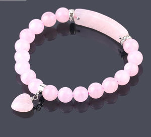 Semi-Precious Gemstone Pink Quartz Crystal Bracelet with Heart Women Jewelry