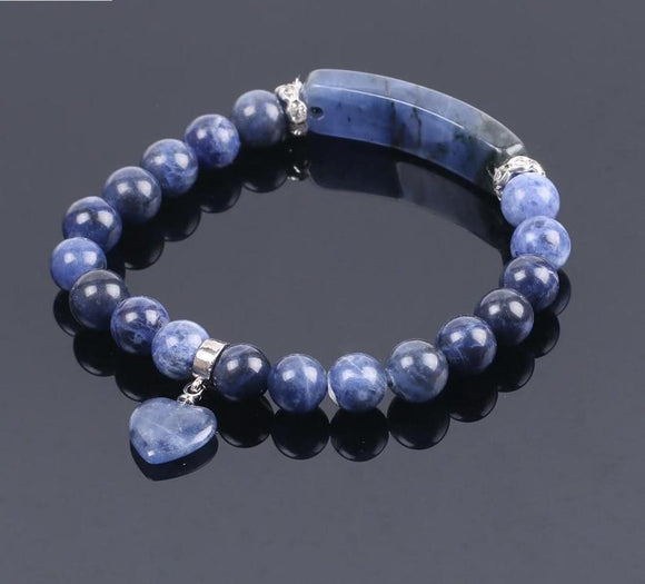 Semi-Precious Gemstone Sodalite Bracelet with Heart Women Jewelry