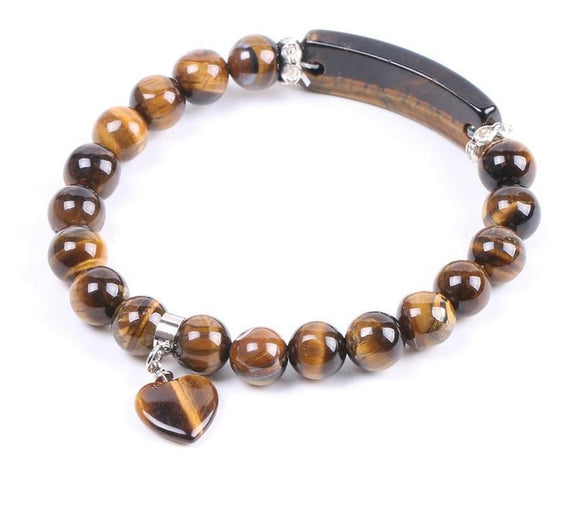 Semi-Precious Gemstone Tiger Eye Bracelet with Heart Women Jewelry