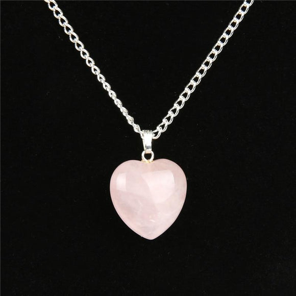 Semi-Precious Heart Pendant & Necklace Women Jewelry