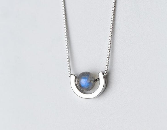 Semi-Precious Moonstone Sterling Silver Necklace Women Jewelry