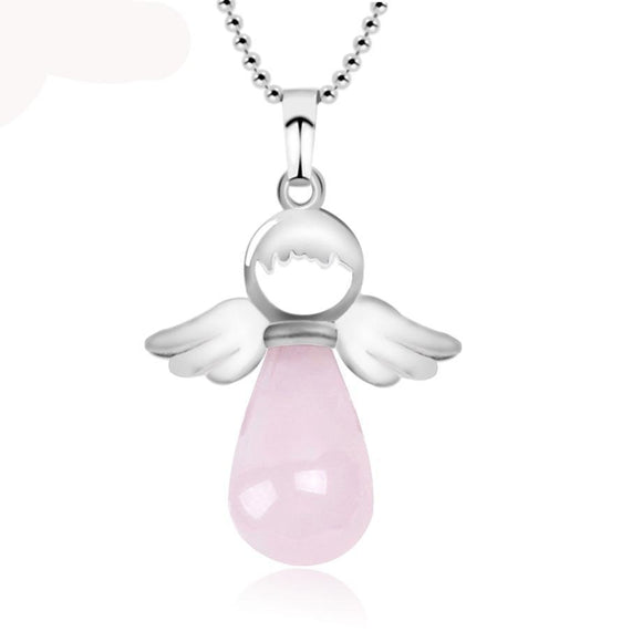 Semi-Precious Stone Angel Fairy Pendant & Necklace Women Jewelry