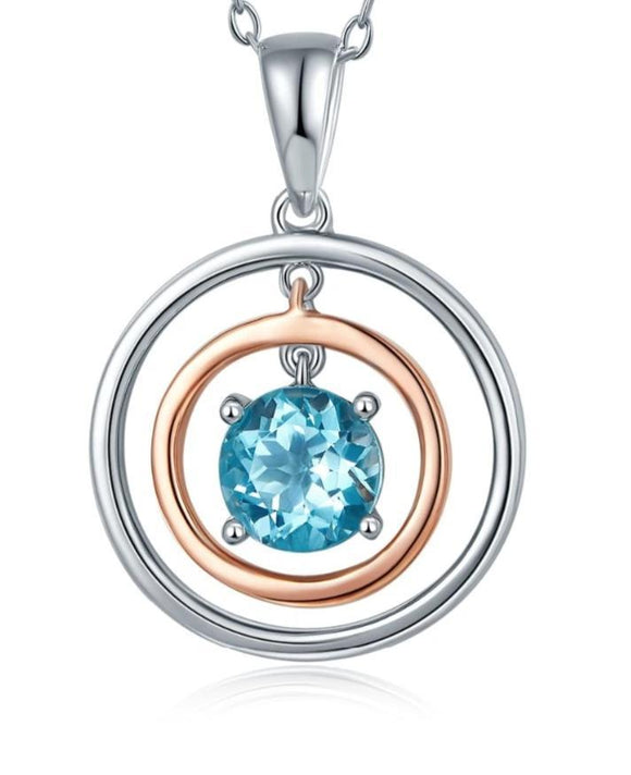 Sky Blue Topaz Solid Sterling Silver Round Pendant Necklace Jewelry