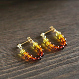 Small Natural Baltic Amber Hoop Earrings Women Jewelry