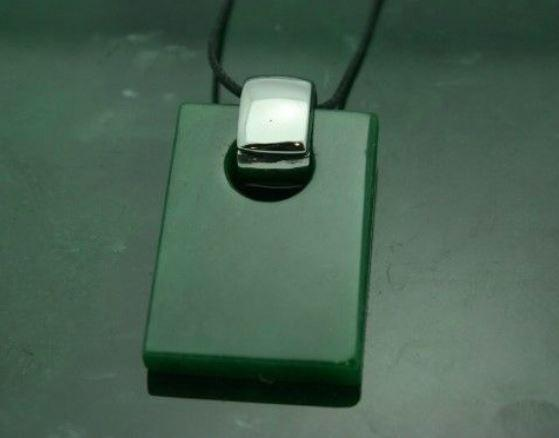 Solid Nephrite Jade Rectangle Pendant with Optional Sterling Chain Canadian Jade Pendant Only