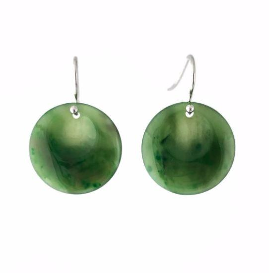 Solid Round Dangle Jade Earrings Canadian Jade