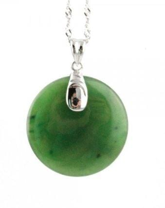 Solid Round Pendant Nephrite Jade Pendant with Optional Sterling Necklace Canadian Jade Sterling Silver Pendant Only
