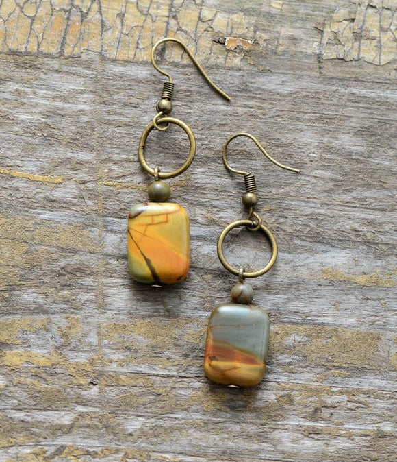 Square Jasper Dangle Earrings Jewelry
