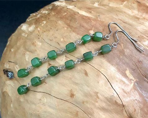 Square Nephrite Jade Bead Dangling Earrings Women Canadian Jade