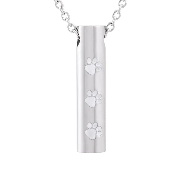 Stainless Steel Cylinder Pet Cremation Pendant with Necklace Jewelry