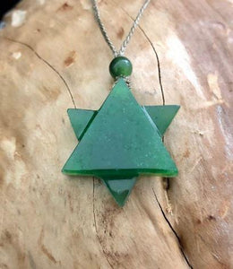 Star of David Nephrite Jade with Adjustable Necklace Canadian Jade