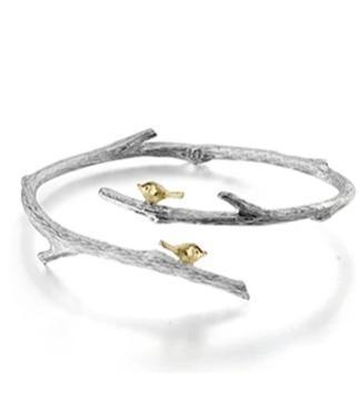 Sterling Silver Birds on Branch Bangle Jewelry