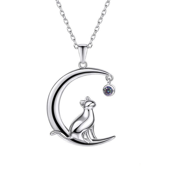Sterling Silver Cat on the Moon & Star Necklace Jewelry
