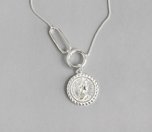 Sterling Silver Coin Pendant Long Necklace Jewelry