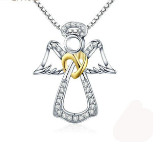 Sterling Silver CZ Guardian Angel Heart Pendant & Necklaces Dazzling Women Jewelry