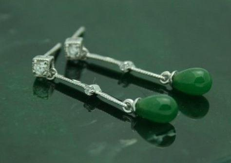 Sterling Silver CZ Nephrite Jade Drop Earrings Women Canadian Jade