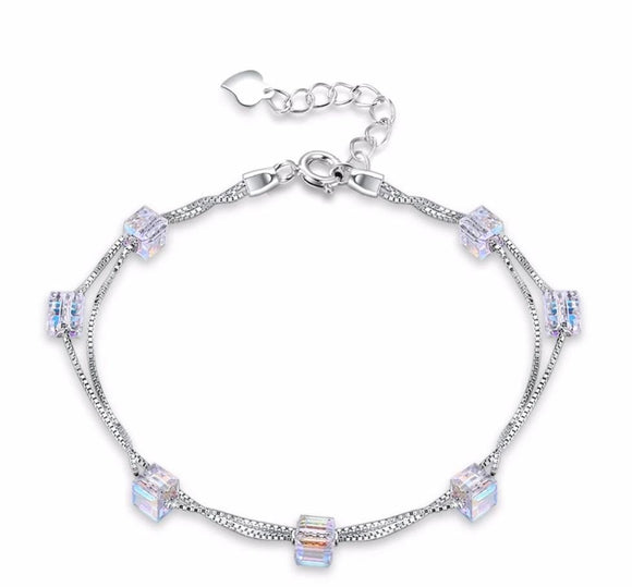 Sterling Silver Double Chain Square Swarovski Crystals Bracelet Jewelry