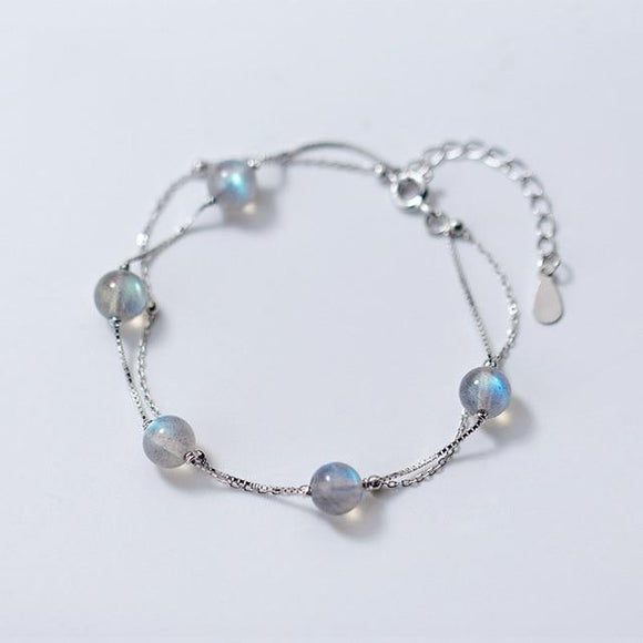Sterling Silver Double Layered Moonstone Bracelet Women's Jewelry Default Title