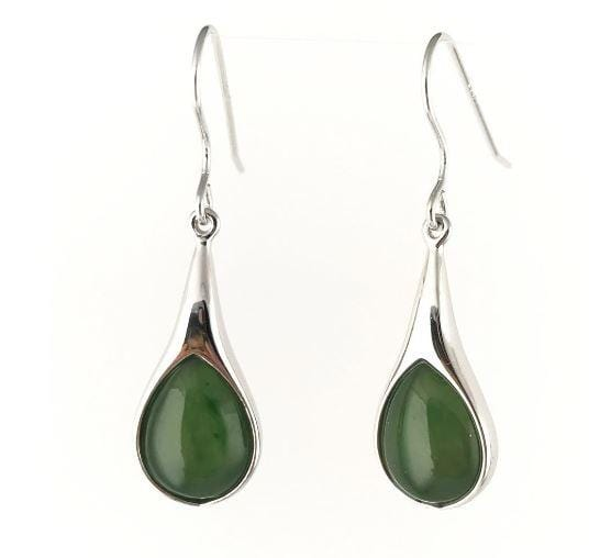 Sterling Silver Drop Earrings Inlaid Nephrite Jade Women Canadian Jade