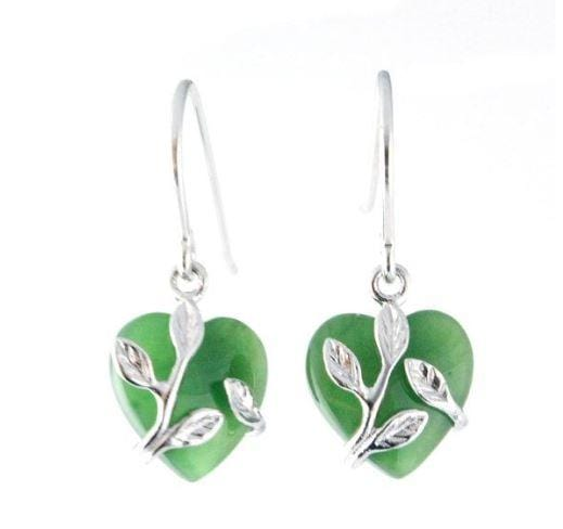 Sterling Silver Entwined Nephrite Jade Heart Earrings Women Canadian Jade