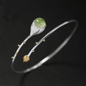 Sterling Silver Gemstone Lotus Bangle Bracelet Jewelry Gold Bud Green Stone