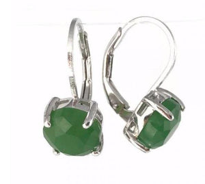 Sterling Silver Jade Faceted Earrings Canadian Jade