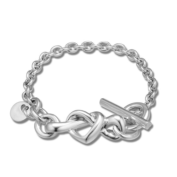 Sterling Silver Knotted Heart Bracelet Jewelry 16cm