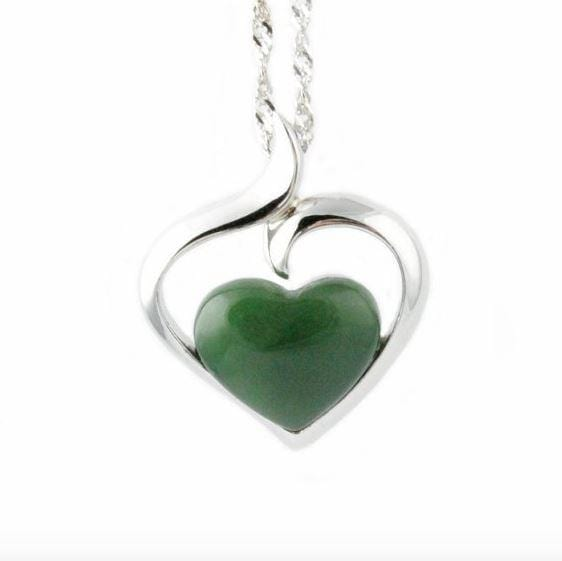 Sterling Silver & Nephrite Jade Heart Pendant with Necklace Women Canadian Jade Pendant+16