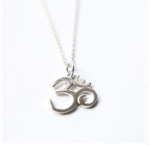 Sterling Silver Om Pendant & Necklace Women Jewelry Rhodium Plated