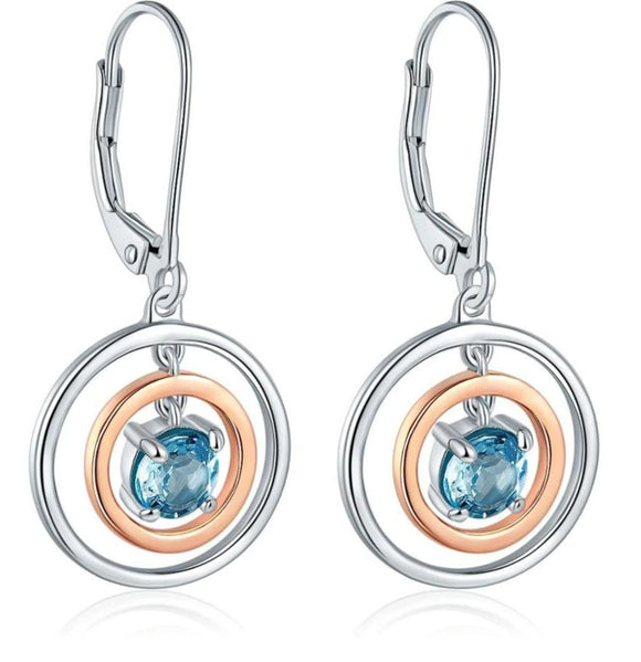 Sterling Silver Rose Gold Natural Blue Topaz Hoop Earrings Jewelry