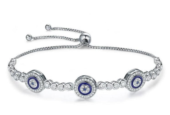 Sterling Silver Round Evil Eyes Crystal Tennis Bracelet Jewelry