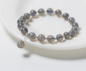 Sterling Silver Semi-Precious Grey Moonstone Bracelet Women Jewelry