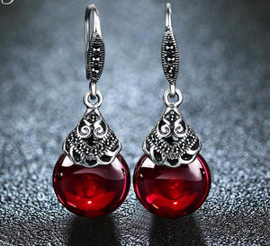 Sterling Silver Vintage Style Round Garnet Germstone Earrings Women Jewelry