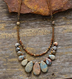 Teardrop Natural Stones Double Layered Statement Necklace Jewelry