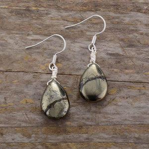 Teardrop Pyrite Earrings Jewelry
