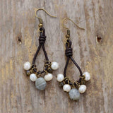 Unique Freshwater Pearls Labradorite Leather Earrings Jewelry
