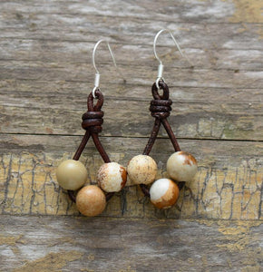 Unique Picture Jasper Bead Leather Earrings Jewelry