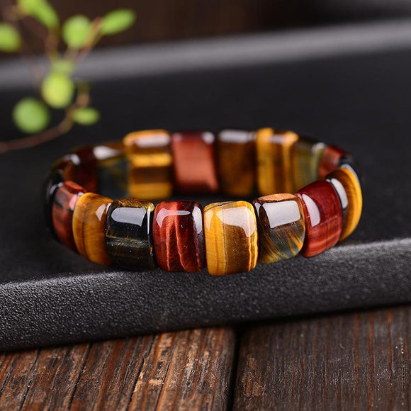Unisex Handmade Colorful Energy Tiger Eyes Natural Stone Beads Bangles & Bracelets