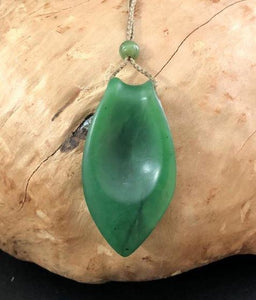 Worry Stone Nephrite Jade Pendant with Adjustable Necklace Canadian Jade