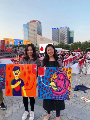 Big Yellow Kimberly Wong cukimber Painting World Blood Donation Awareness Shanghai